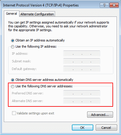 Change DNS Windows